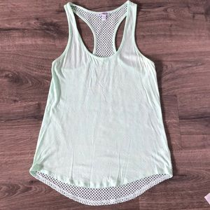 Express mint tank with see-through knit back